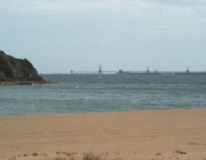 Louisa Creek Beach with coal loader in the distance.