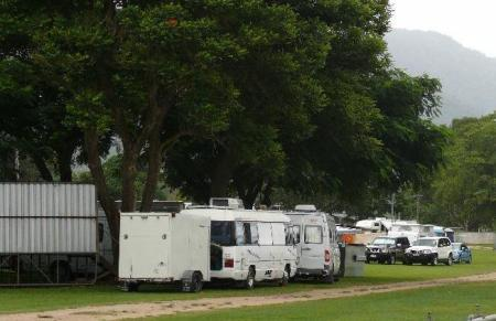 Camped at Finch Hatton Showgrounds with bike trailer in tow.