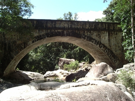 Sandstone Bridge at Little Crystal Creek Falls.
