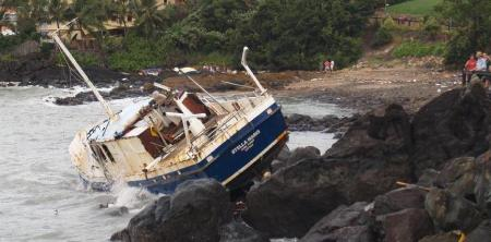 """""""STELLA MARIS"""" was thrown on the rocks on top of a ferro concrete boat. Stella was cut into sections and craned off the rocks."""