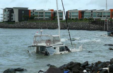 This was once a luxury bareboat charter catamaran.