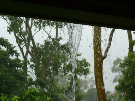 Veranda gutter cannot cope with the vlume of rain.