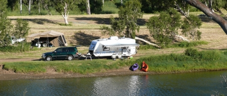 Campsite at Calliope River on lower bank.
