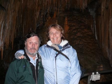 A pair of posuers inside Hastings Caves.