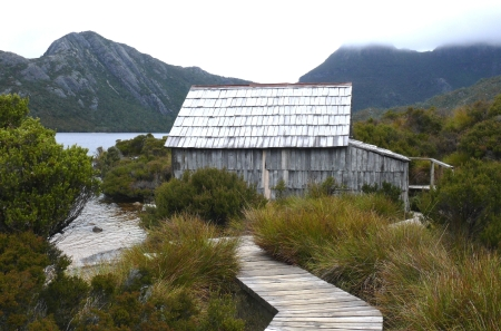 The boatshed on Dove Lake, Cradle Mountain.