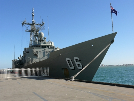 HMAS NEWCASTLE was also at the dock.