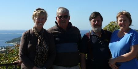 Catherine, Roy, Frank n Donnis at lookout over Nelson Bay.