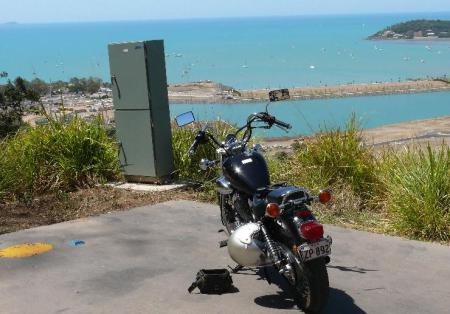 Yamaha Virago takes in the views above airlie Beach.