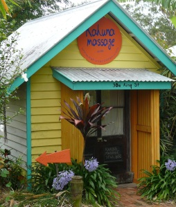 Cool massage hut and door at Cooran, Sunshine Coast Hinterland Queensland.