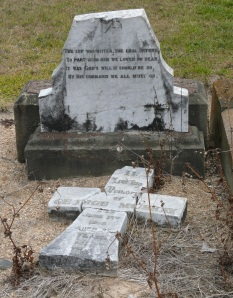 Note the inscription on this 1896 broken headstone in the old Uralla Cemetry.