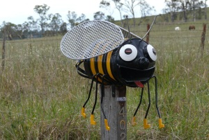 A bee letterbox seen along the road to Gara Gorge.