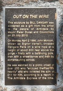 Plaque explaing the feat of faring do above Dangars Gorge.