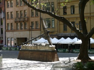Anchor from the wreck of the HMS SIRIUS now located at Macquarie Place at The Rocks.