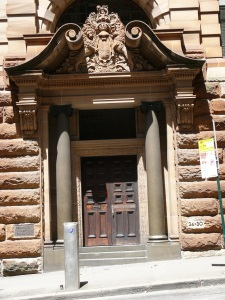 Beautiful ornate door and entranceway stonework of the Department of Lands.