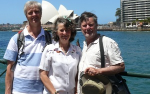 Pete, Bev n Frank at Circular quay with  icon  the Opera House.