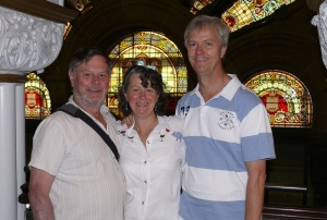 Frank Bev N pete in the Queen Victoria Building in front of the original stained glass window.