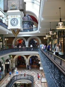 Queen Victoria Building showing three shopping levels.