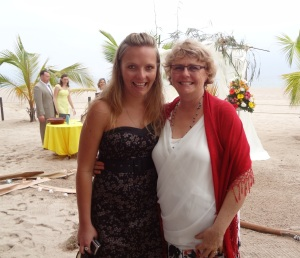 Down on the beach Donnis and daughter Alecia are ready for the wedding.