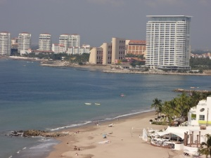 View of other hotels on the beach at Peurto Vallarta, Mexico