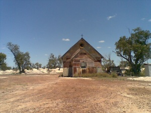 The Goddess of 1967 movie set church, Lightning Ridge, NSW.