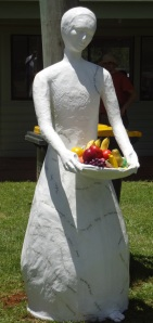 White Lady with harvest at the Dorrigo Markets.