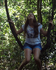 Young girl on natural hanging vine swing at Dorrigo Rainforest Walk.