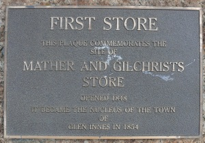 Plaque commemorating the site of a store opened in 1848. The site is now the carpark for a Bi-Lo Store.