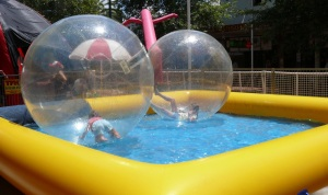 Kids just loved being inside these clear balls floating on the water.