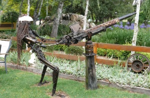Machine Gun Woman in park at Walcha. Sort of reminds me of a scene from a Mad Max movie.