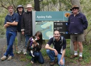 Happy Taylor Tribe at Apsley Falls. ( L 2 R. Jason, Justin,Linda Greg with Alesha  with Ella the dog and Iain kneeling.