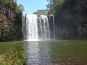 Dangar Falls and the drifting mist as seen from the base of the falls.