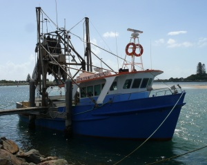 Fishing boat safely tied up at its berth at Forster.