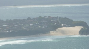 One Mile Beach and sand dunes at Forster as seen from the lookout atop Cape Hawke.