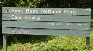 Booti Booti National Park and the beginning of the steep climb to the top of Cape Hawke.