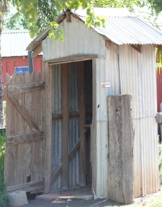 The door on this wonderful useful old builing was once a privacy screen on an outside toilet in the western NSW town of Bourke.