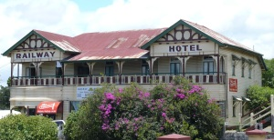 The old and badly in need of maintenance Railway Hotel at Gympie, Queensland, is across the street from...the Gympie Railway Station. The main north coast railway no ,longer passes through Gympie. The old hotel once provided refreshment, meals and accomodation to the travelling public. Those days are gone and the hotel struggles to remain viable.