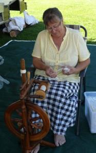 Marion spinning woolen yarn.