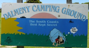 Sign at Dalmeny Campground.