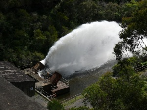 Water being discharged at  Cataract Dam.