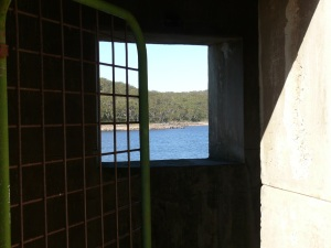 View through entrance doorway at Cordeaux Dam.