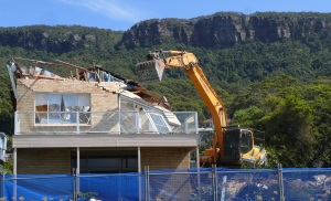 The house being demolished.