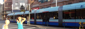 "Way back in the 1960's, Sydney discontinued trams and tore up all the rail lines and took down the overhead power cables. Now ""light rail"" AKA trams have been re-introduced in the Haymarket and Chinatown area of the city."