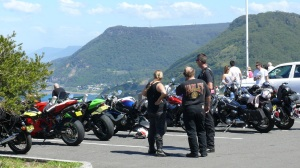 Motorcycle groups as well as hang gliders like to meet at Stanwell Tops on the Bald Hill viewing area.