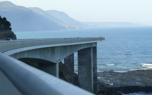 North view of a bend in the Sea Cliff Bridge. Note how tiny the people appear on the right hand edge of the bridge.