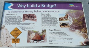 The reasons for the closure of the old road and the building of this bridge are explained here.