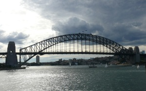 Storm clouds building over Sydney Harbour Bridge.