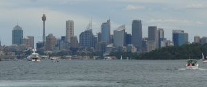 Sydney skyline seen from the rear deck of the ferry.