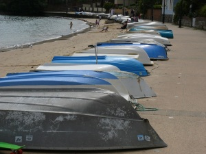 Line of dinghy's along the beach at Watsons Bay.