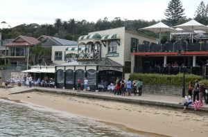 Doyles seafood Restaurant on the beach at Watsons Bay.The two outdoor decks to the right of the building are also part of the Doyles outdoor dining area.