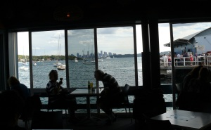 View from inside Doyles take away dining area.